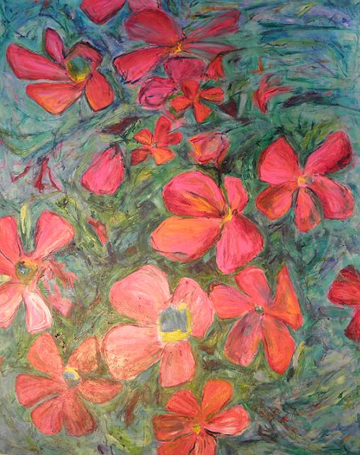 Røde blomster 100 x 80 cm.